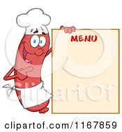 Cartoon Of A Chef Sausage Mascot Pointing To Menu Board Royalty Free Vector Clipart by Hit Toon