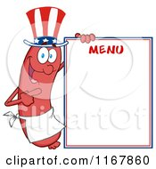 Cartoon Of An American Sausage Mascot Pointing To Menu Board Royalty Free Vector Clipart by Hit Toon