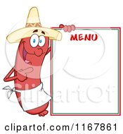 Cartoon Of A Mexican Sausage Mascot Pointing To Menu Board Royalty Free Vector Clipart by Hit Toon