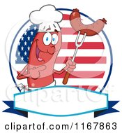 Cartoon Of A Chef Sausage Mascot With Meatn On A Fork Over A Banner And American Circle Royalty Free Vector Clipart by Hit Toon