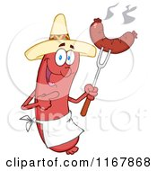 Cartoon Of A Mexican Sausage Mascot Pointing To A Weenie On A Fork Royalty Free Vector Clipart by Hit Toon