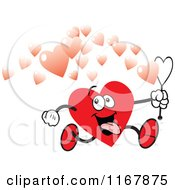 Cartoon Of A Goofy Valentine Heart Running And Making Bubbles Royalty Free Vector Clipart by Johnny Sajem
