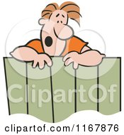 Cartoon Of A Surprised Neighbor Man Talking Over A Fence Royalty Free Vector Clipart