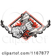 Clipart Of A Strongman With Chains And A Dumbbell In Hand Crashing Through A Red Diamond Royalty Free Vector Illustration