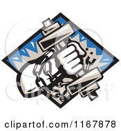 Clipart Of A Strongman With Chains And A Dumbbell In Hand Crashing Through A Blue Diamond Royalty Free Vector Illustration