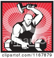 Clipart Of A Strong Blacksmith Forging A Barbell Over Rays And Outlined In Red Royalty Free Vector Illustration