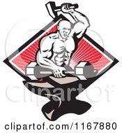 Clipart Of A Strong Blacksmith Forging A Barbell On An Anvil Over A Diamond Of Rays On Red Royalty Free Vector Illustration