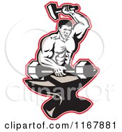 Clipart Of A Strong Blacksmith Forging A Barbell On An Anvil Outlined In Red Royalty Free Vector Illustration