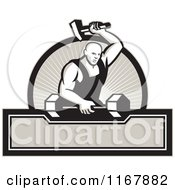 Clipart Of A Strong Blacksmith Striking A Barbell Over A Circle Of Rays And Banner Royalty Free Vector Illustration