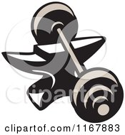 Clipart Of A Barbell Resting On An Anvil Royalty Free Vector Illustration