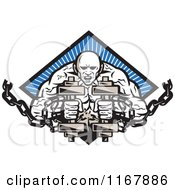 Clipart Of A Bodybuilder With Chains And Dumbbells Over A Blue Ray Diamond Royalty Free Vector Illustration