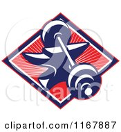 Clipart Of A Barbell Resting On An Anvil In A Diamond Of Rays On Red Royalty Free Vector Illustration