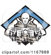 Clipart Of A Bodybuilder With Chains Holding Dumbbells Over A Blue Ray Diamond Royalty Free Vector Illustration by patrimonio