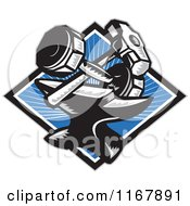 Clipart Of A Crossed Woodcut Sledgehammer And Dumbbell Over An Anvil And Blue Ray Diamond Royalty Free Vector Illustration