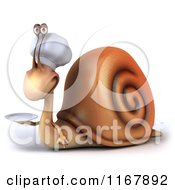 Clipart Of A 3d Chef Snail Mascot Holding A Plate Royalty Free CGI Illustration