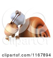 Clipart Of A 3d Chef Snail Mascot Pointing Down At A Sign Royalty Free CGI Illustration by Julos