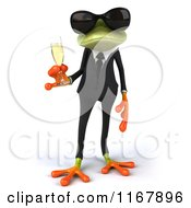 Clipart Of A 3d Formal Frog With Sunglasses And Champagne Royalty Free CGI Illustration