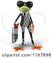Clipart Of A 3d Formal Frog With Sunglasses And Carrying A Briefcase Royalty Free CGI Illustration