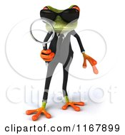 Clipart Of A 3d Formal Frog With Sunglasses And Using A Magnifying Glass Royalty Free CGI Illustration