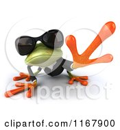 Clipart Of A 3d Formal Frog With Sunglasses And Reaching Royalty Free CGI Illustration