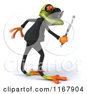 Clipart Of A 3d Formal Frog With Sunglasses And Using A Magnifying Glass 2 Royalty Free CGI Illustration