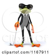 Clipart Of A 3d Formal Frog With Sunglasses And Standing With A Golf Club Royalty Free CGI Illustration