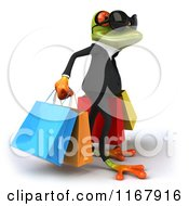 Clipart Of A 3d Formal Springer Frog Wearing Sunglasses And Carrying Shopping Bags 2 Royalty Free CGI Illustration