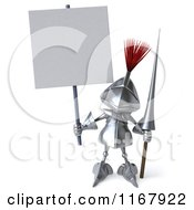 Clipart Of A 3d Knight Holding A Sign Royalty Free CGI Illustration