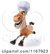 Clipart Of A 3d Chef Horse Running 2 Royalty Free CGI Illustration