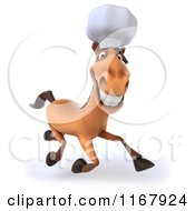 Clipart Of A 3d Chef Horse Running Royalty Free CGI Illustration