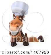 Clipart Of A 3d Chef Horse Over A Sign Royalty Free CGI Illustration