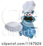 Clipart Of A 3d Blue Chef Germ With A Plate Royalty Free CGI Illustration