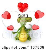 Clipart Of A 3d Crocodile Wearing Glasses And Juggling Valentine Hearts Royalty Free CGI Illustration