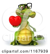 Clipart Of A 3d Crocodile Wearing Glasses And Holding A Valentine Heart Royalty Free CGI Illustration