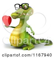 Clipart Of A 3d Crocodile Wearing Glasses And Holding A Valentine Heart 2 Royalty Free CGI Illustration