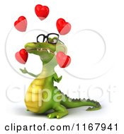 Clipart Of A 3d Crocodile Wearing Glasses And Juggling Valentine Hearts 2 Royalty Free CGI Illustration