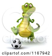 Clipart Of A 3d Crocodile Playing Soccer Royalty Free CGI Illustration