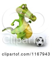 Clipart Of A 3d Crocodile Playing Soccer 2 Royalty Free CGI Illustration