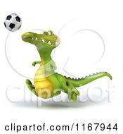 Clipart Of A 3d Crocodile Playing Soccer 3 Royalty Free CGI Illustration