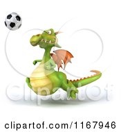 Clipart Of A 3d Green Dragon Playing Soccer 2 Royalty Free CGI Illustration