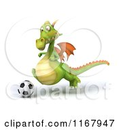 Clipart Of A 3d Green Dragon Playing Soccer 3 Royalty Free CGI Illustration