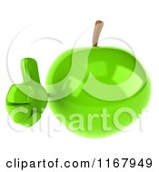 Clipart Of A 3d Green Apple Mascot Holding A Thumb Up Royalty Free CGI Illustration