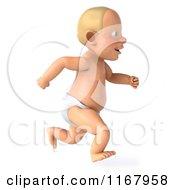 Clipart Of A 3d Caucasian Baby Boy Running Royalty Free CGI Illustration