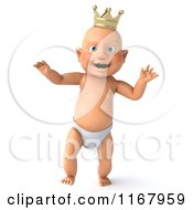 3d Caucasian Baby Boy King Walking