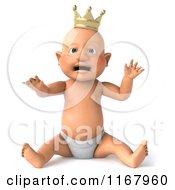 3d Caucasian Baby Boy King Sitting