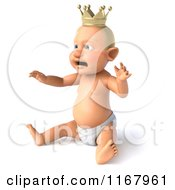 Clipart Of A 3d Caucasian Baby Boy King Sitting 2 Royalty Free CGI Illustration