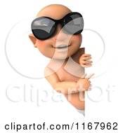 Clipart Of A 3d Caucasian Baby Boy With Sunglasses Pointing At A Sign Royalty Free CGI Illustration