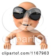 3d Caucasian Baby Boy With Sunglasses Over A Sign