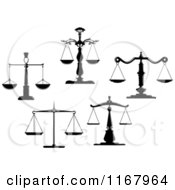 Clipart Of Black And White Scales Of Justice 6 Royalty Free Vector Illustration