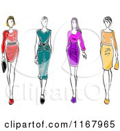 Clipart Of Sketched Models Walking In Dresses Royalty Free Vector Illustration